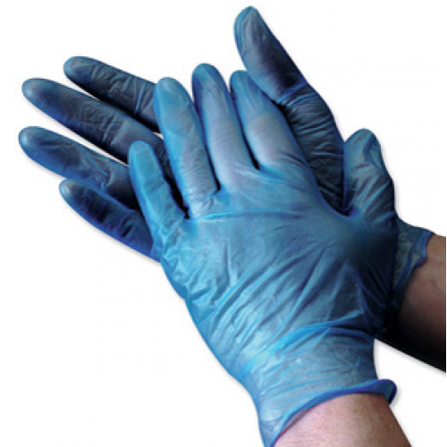 BLUE VINYL LOW POWD GLOVE 100`S