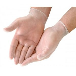 CLEAR VINYL LOW POWDER GLOVE 100`S