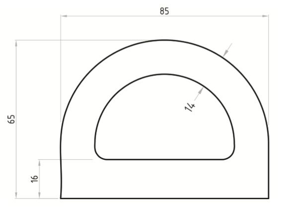 EPDM D FENDER STRIP H/D - BLACK - 85mm X 65mm 30m Coil